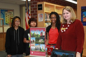 Alabama Representative Elizabeth Dugas took time to meet with SAlem Middle School students Aimee Layo, Justin Montoyia and Glory Chuma.