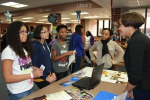 "Sarena Berkman, Giselle Cruz and Jezel Gardner listen to Shaiajah Dailey and Rana Hodges at ""Duke"" Table."
