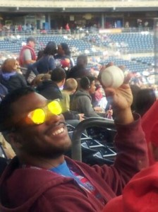 Student Jamar Andrews caught a foul ball that was hit out of bounds by third base.
