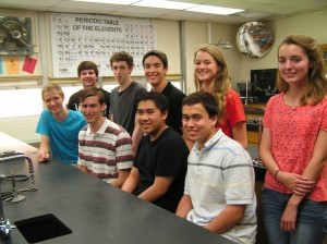 The Kempsville Chemistry Club has been active in looking for ways to engage with the subject. Pictured are  this year's members, in the front row, left to right: Matthew Wrocklage,  Ben Clarke, John Sodusta, Ryan McBride; in the back row: Alex Salvato, Nate Shue, Connor Mann, Kelli Green and Caitlyn Mann.