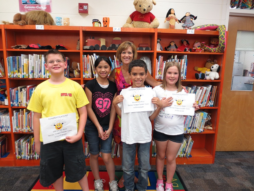The winners of the tongue twisting tournament from left to right are Jesse Ankney, fourth-grade, Adrienne Peji, second-grade, Mrs. O'Connor, Nick Neil, third-grade and Nina Metzger fifth-grade.  Not pictured is first-grade winner Shannon Cook.