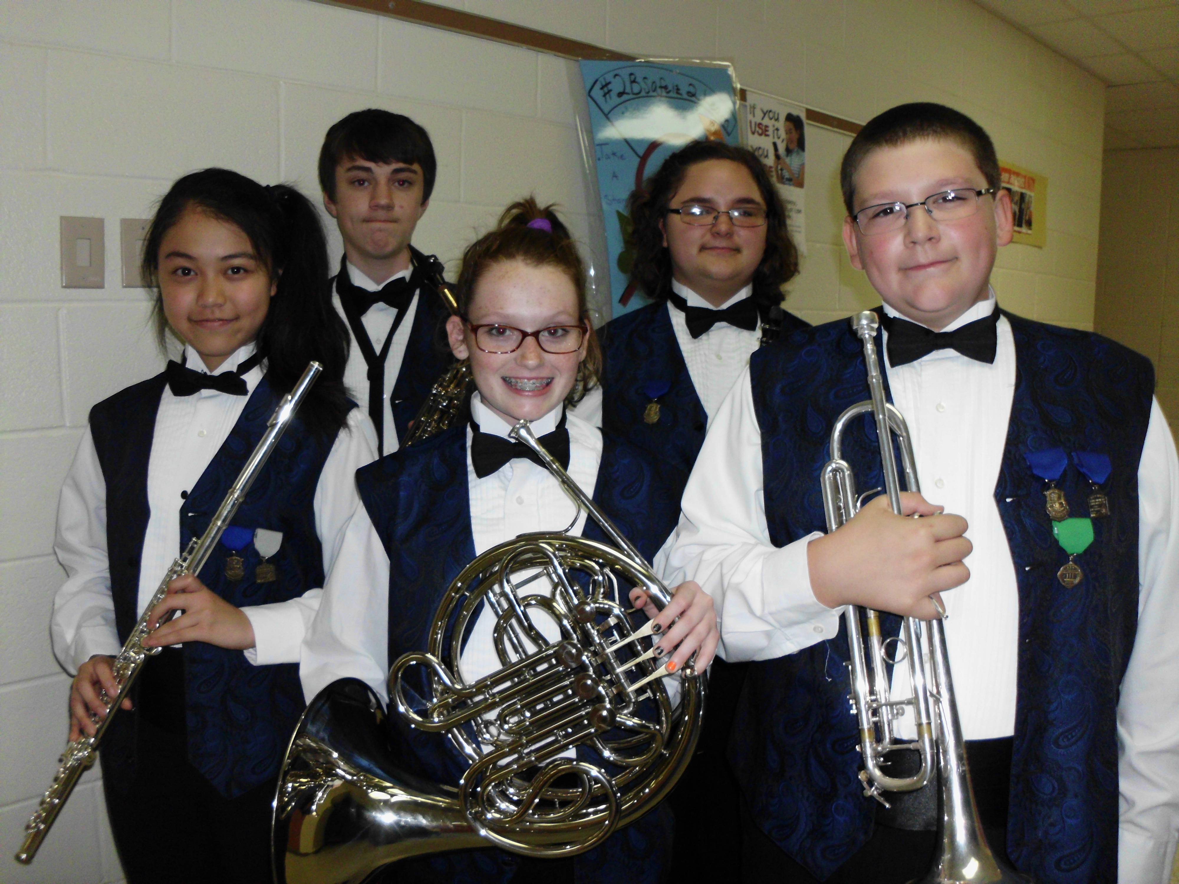 The following students were named to the HRYWE, in the front row; Maiko Okawa (flute), Sarah Kennedy (fench horn), Miguel Garza (trumpet); in the back row, Camerone Treon (alto saxophone), and Alexys Wilber (clarinet).