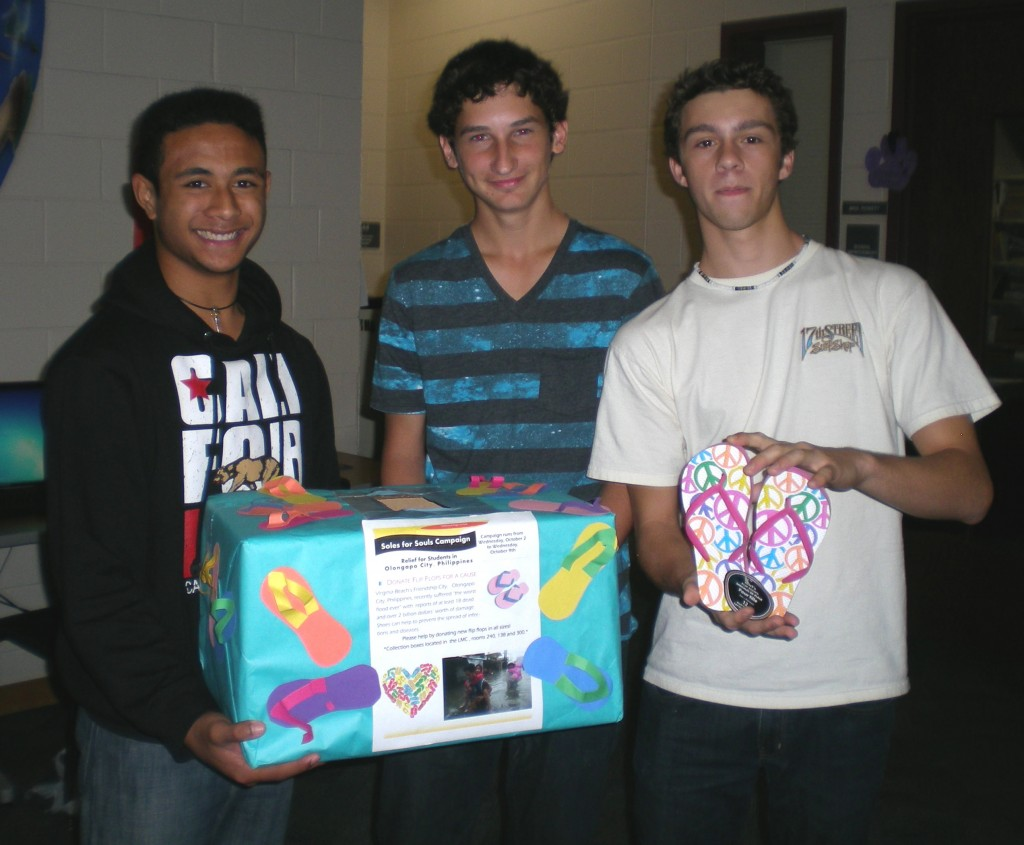 Tallwood Global Studies students Jon Peau, Chase Liddon and Greg Falls do their part for a good cause.