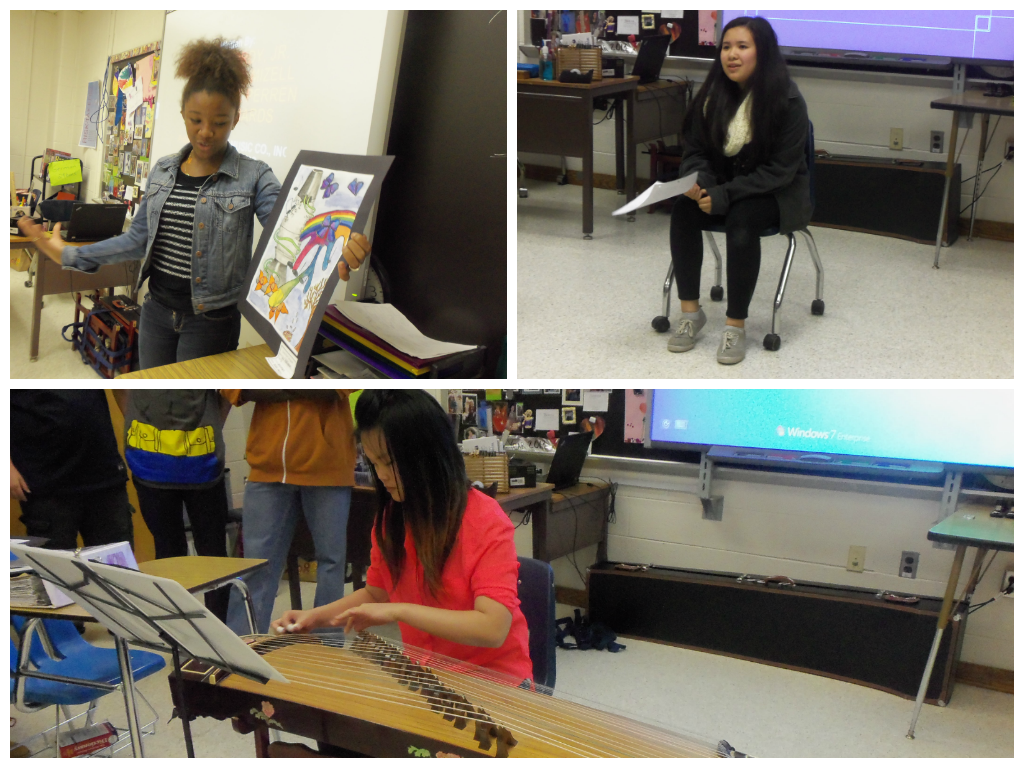 At top left, Deja Montgomery, shares artwork; at top right, Denise DelRosario shares a Filipino poem and song, and, in the bottom photo, Tiffany Liu plays a Chinese Zither.