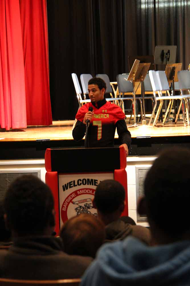 Quin Blanding, a senior at Bayside High School and All-American football player, spoke to students at Bayside Middle.