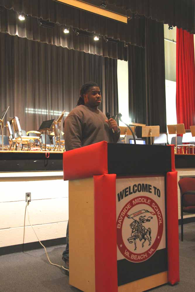 Michael Wyche, a defensive tackle, headed to the University of Miami spoke to students at Bayside Middle School.