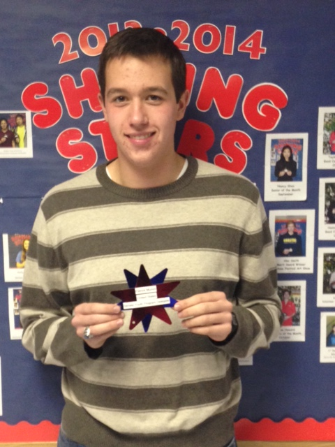 "Patrick Mumm  shown holding his PA High ""Shining Star"" award in recognition of being named a United States Senate Youth Program Delegate."