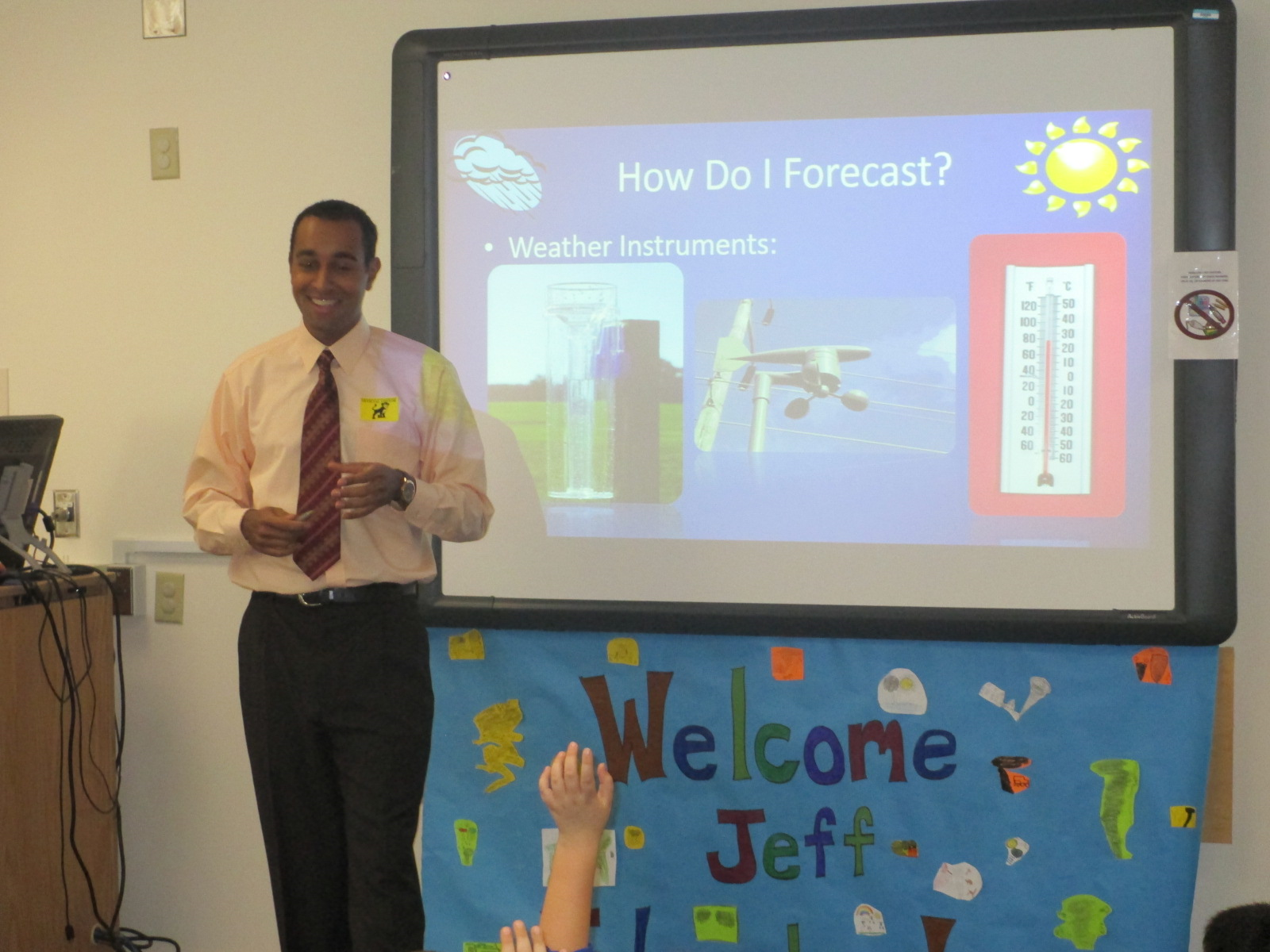 WAVY TV 10 meteorologist Jeff Edmondson came to Kempsville Meadows Elementary School to talk to fourth-graders about weather.