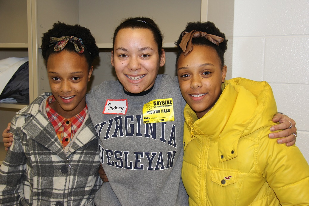VWC senior Sydney Covey catches up with her former mentees, twin sisters Shanese and Lae'nese Bernard.