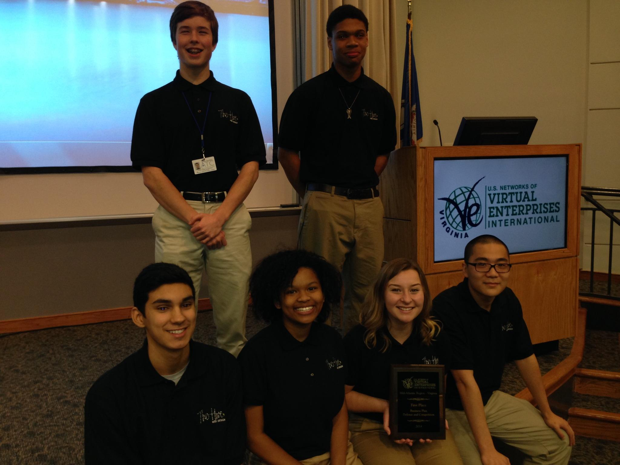 Hive team members Tristan Adams, Max McCormack, Glenaye Calvin, Steffan Watts, Hannah Peterson and Jia Lin are pictured with instructor Katharine Sargent.