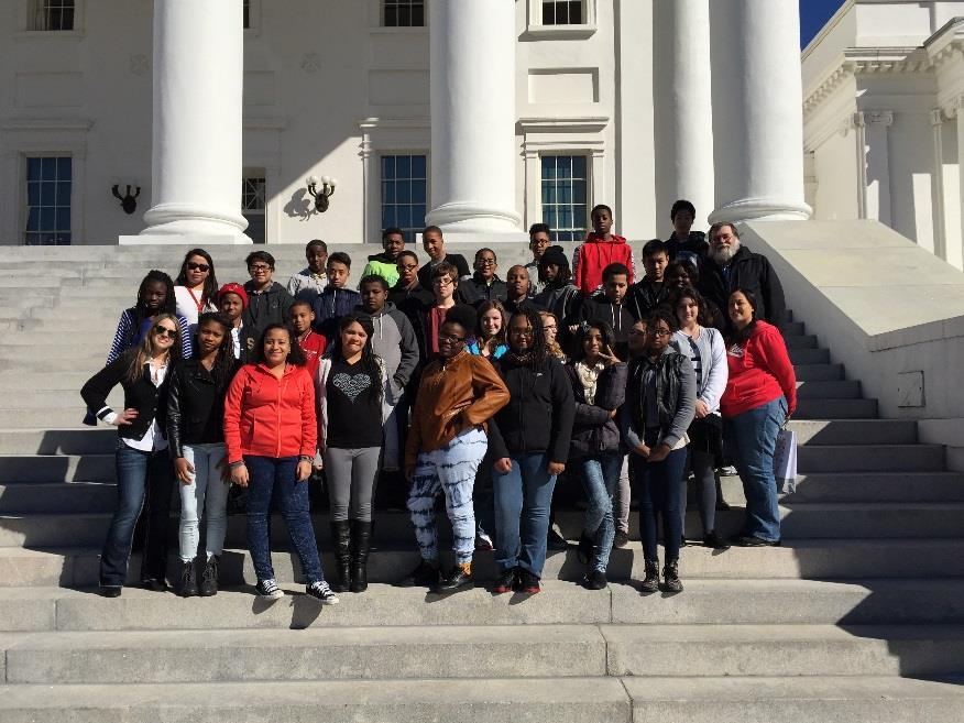 Bayside Middle School students pose on the steps of the Virginia State Capitol.
