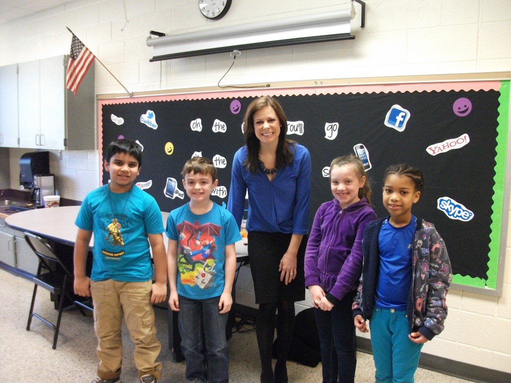 The second-graders at Luxford Elementary recently finished up their science unit on weather. In culmination the second grade teachers invited WAVY News 10 meteorologist Tiffany Savona to talk to the students about her job and how she reports the weather. Pictured here from left to right are Digvijay Sing, Brady Wilsbach, Meteorologist Tiffany Savona, Gabrielle Hensley and Jadin Broadnax.