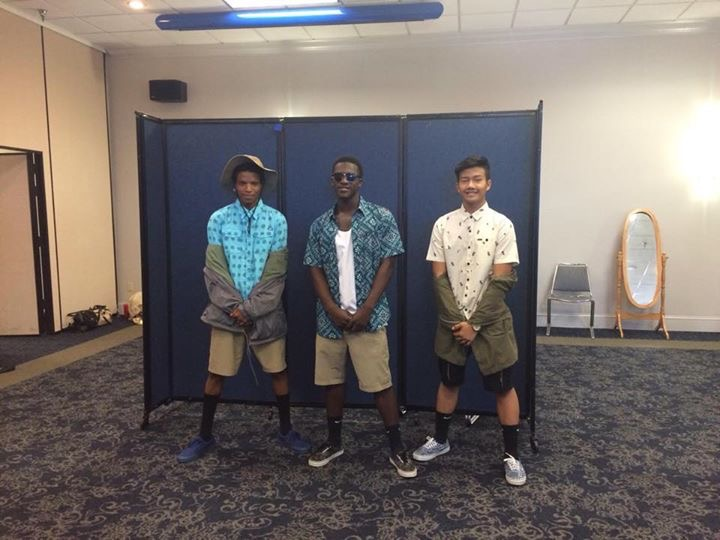 Senior Fashion students Javon Marcelle, Leondis Griffin, and Time Sang model at the ZONTA Fashion Show.