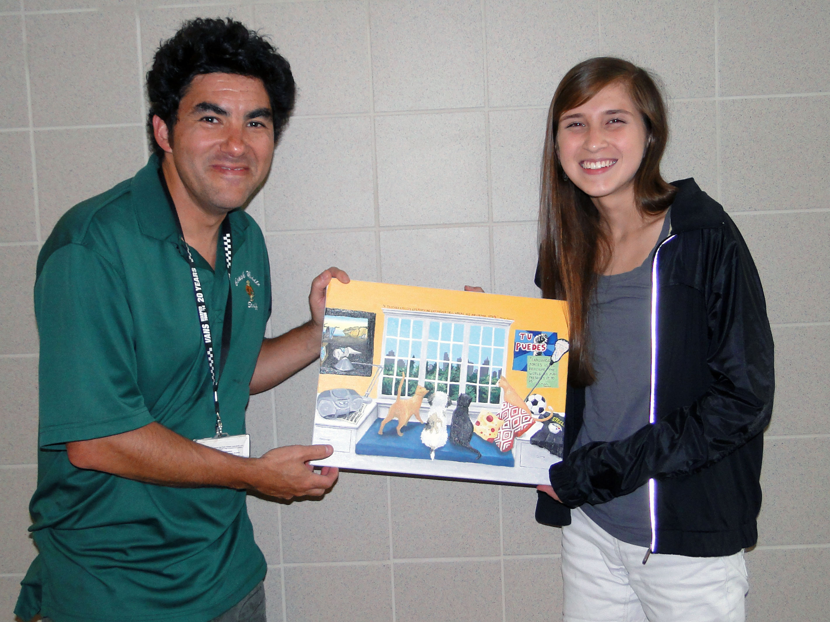 Valverde (right) dedicated her artwork to O'Neil.