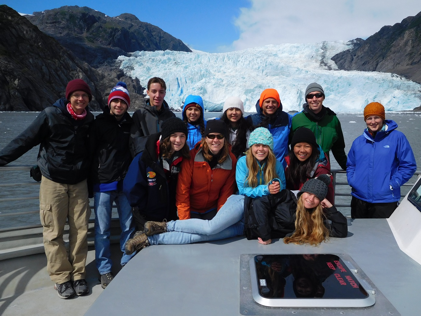 Ocean Lakes students took a break for a group photo. Pictured here are top row:  Christopher Lucy, Samuel Edwards, Hunter Voltz, Emma Hultin, Isabella Gonzalez, Robert Mastroianni, Sean Hoppes (No Barriers Youth Expedition leader); middle Row, Samantha Revolinsky, Laura Wood (Teacher), Caroline Whitlow, Patricia Asiatico; bottom row, Maylin Waddell-Horan.