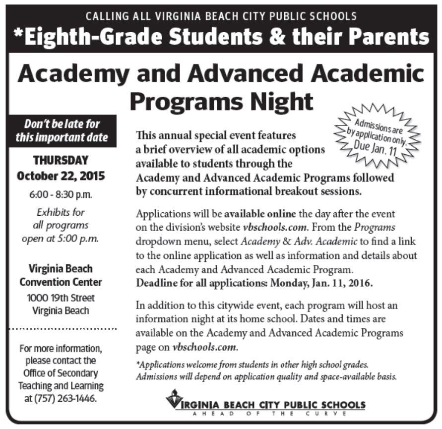 Academy Adv Academic Programs Night