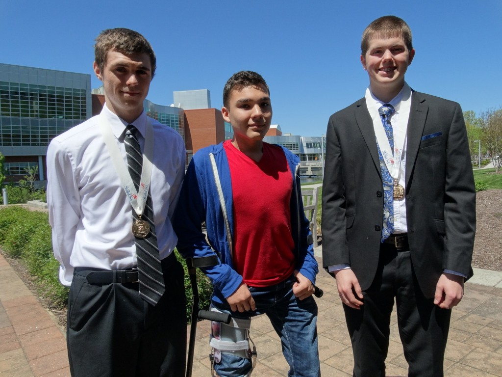Here are some of the ATC's SkillsUSA first place winners: Hunter Hearne, for internet working; Seth Sifuentes, for 3D Visulaization; and Bradley Willett, for telecommunications.