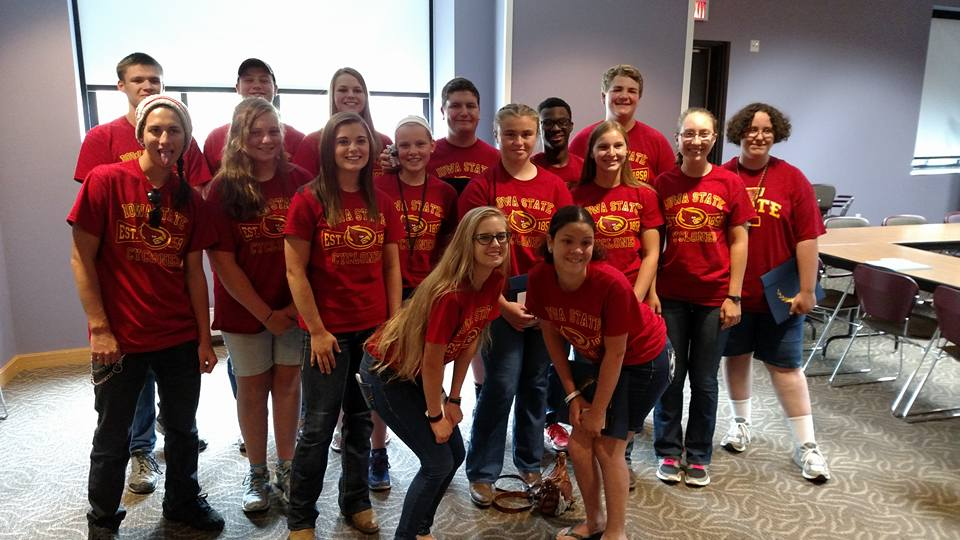 Breanna Frawley (front row, right) stands with her AgDiscovery program group.