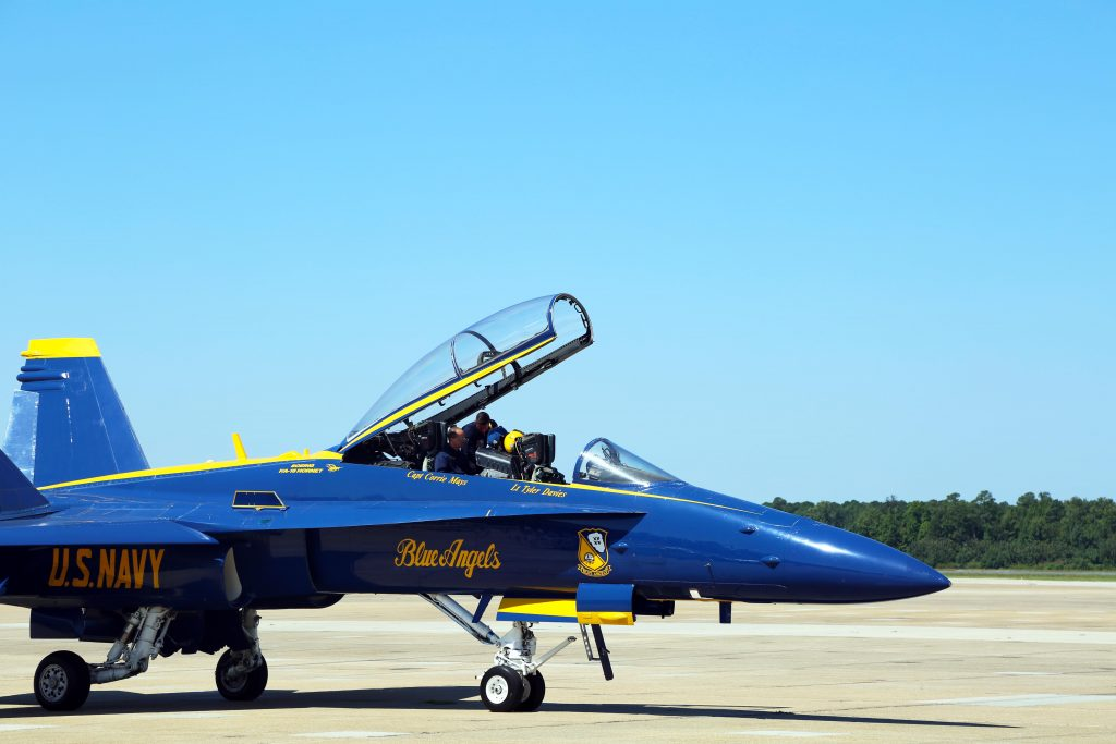 Rosemont Forest teacher Bradley Ward prepares for Blue Angels flight.