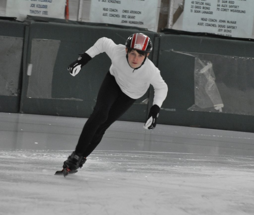 Josh Burton on the ice rink
