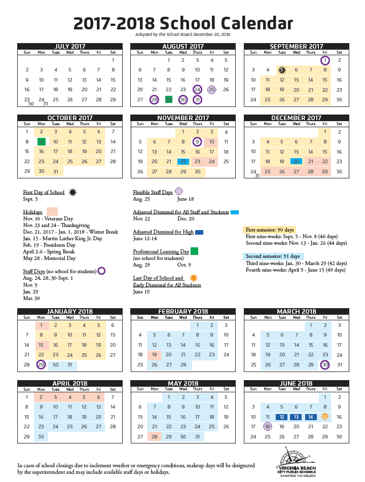 2017 18 school calendar adopted by School Board   Kaleidoscope