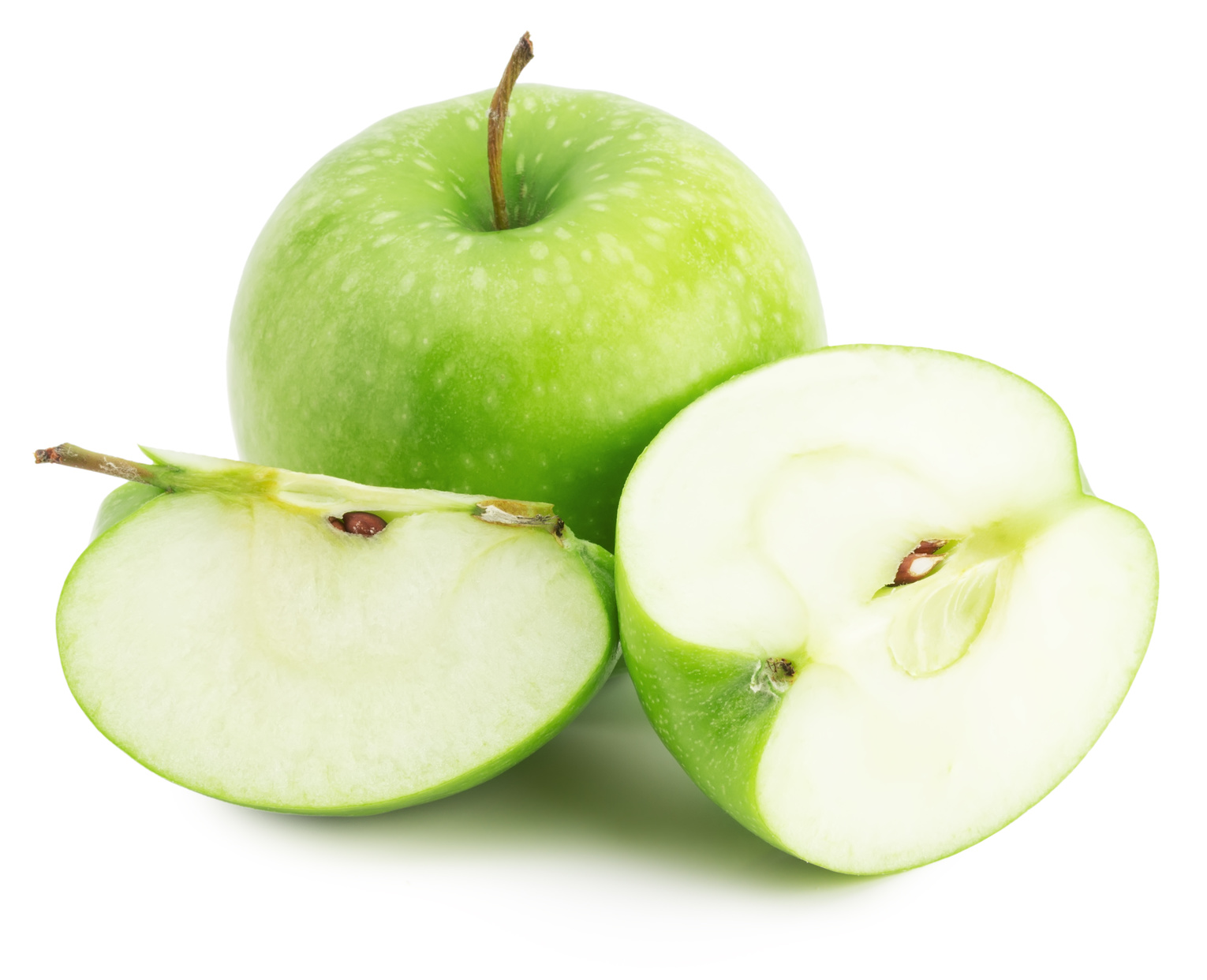 green apple with slice isolated on the white background.