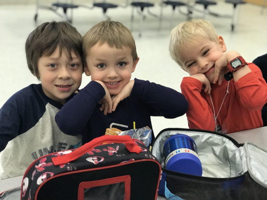 Arrowhead Elementary School students Myles Dotson, Bentley Miller and James Allen Lowman enjoyed lunchtime.