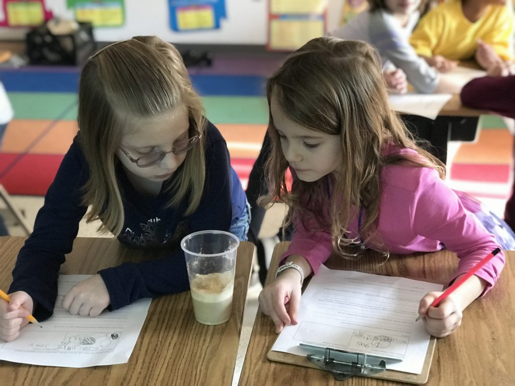Arrowhead Elementary School second-graders Savanna Segar and Caitlyn Herr studied the three states of matter within a root beer float.