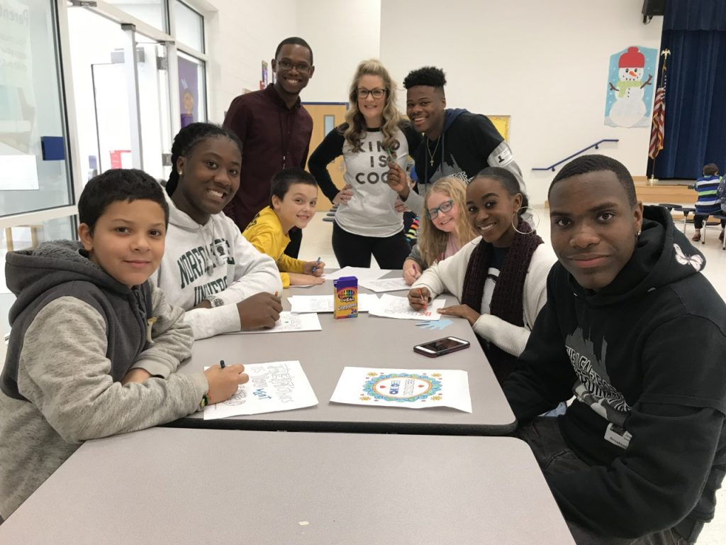 Norfolk State University students from the League of Extraordinary Men and Women visited Arrowhead Elementary School to assist with lunchtime kindness stations as part of the National Great Kindness Challenge.