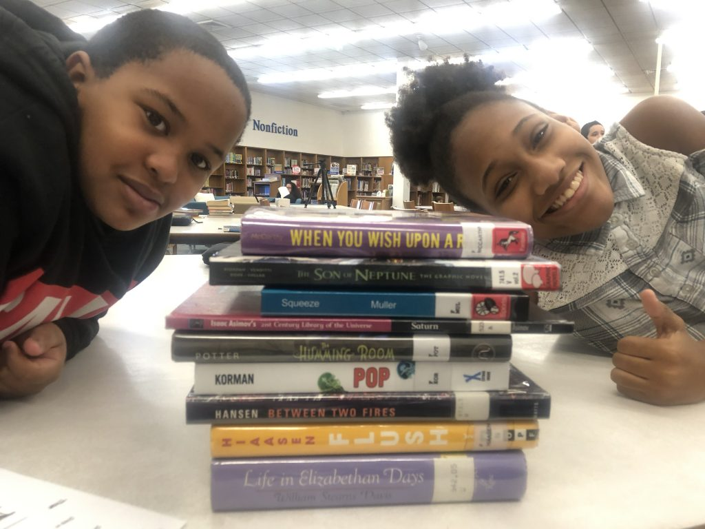 Sixth-graders at Brandon Middle School enjoyed creating book spine poetry that included figurative language.