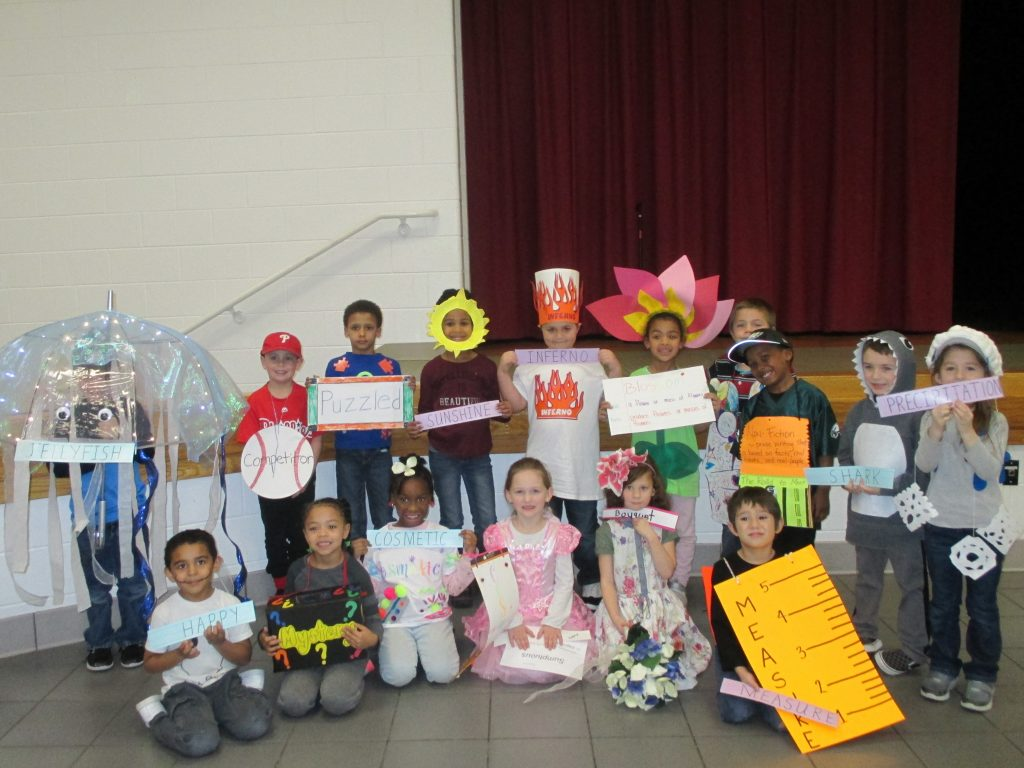 Kindergarten students at Corporate Landing Elementary celebrated Reading Month by participating in the fourth annual Vocabulary Parade.