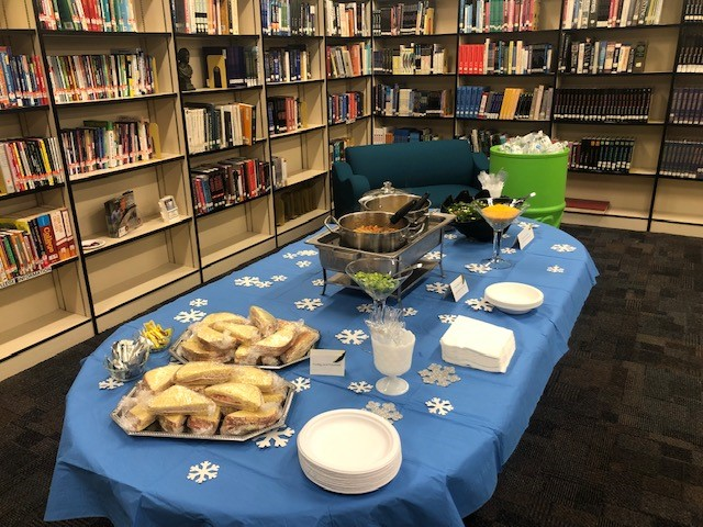 Cox High School's catering class put out quite a spread for the library media specialists' luncheon.