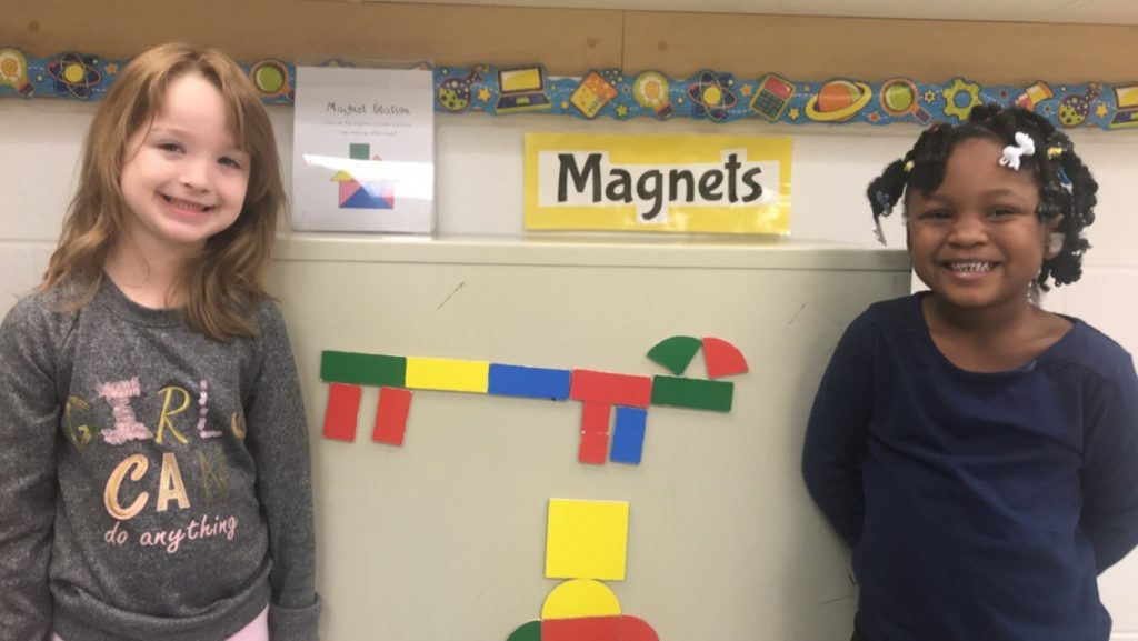 Kindergartners Darby Graves and Zih'Yonna Perry at Diamond Springs Elementary School used magnets to create a wiener dog.