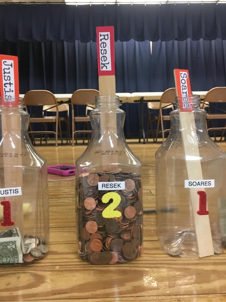 """Fairfield Elementary School's """"Penny Wars"""" raised $2400 toward a visit from the Virginia Aquarium touch tank later this year."""