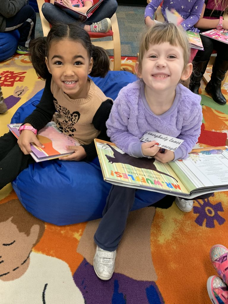 Ari Lamb and Naomi Smith from Sara Chiaverotti's kindergarten class enjoyed some good books in the Kingston Library.