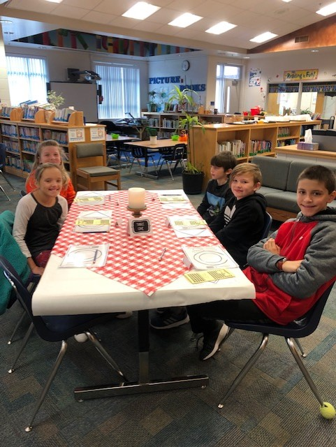 """The Library Media Center at Linkhorn Park Elementary School had a """"Book Tasting"""" complete with menus, snacks. drinks, and reviews."""