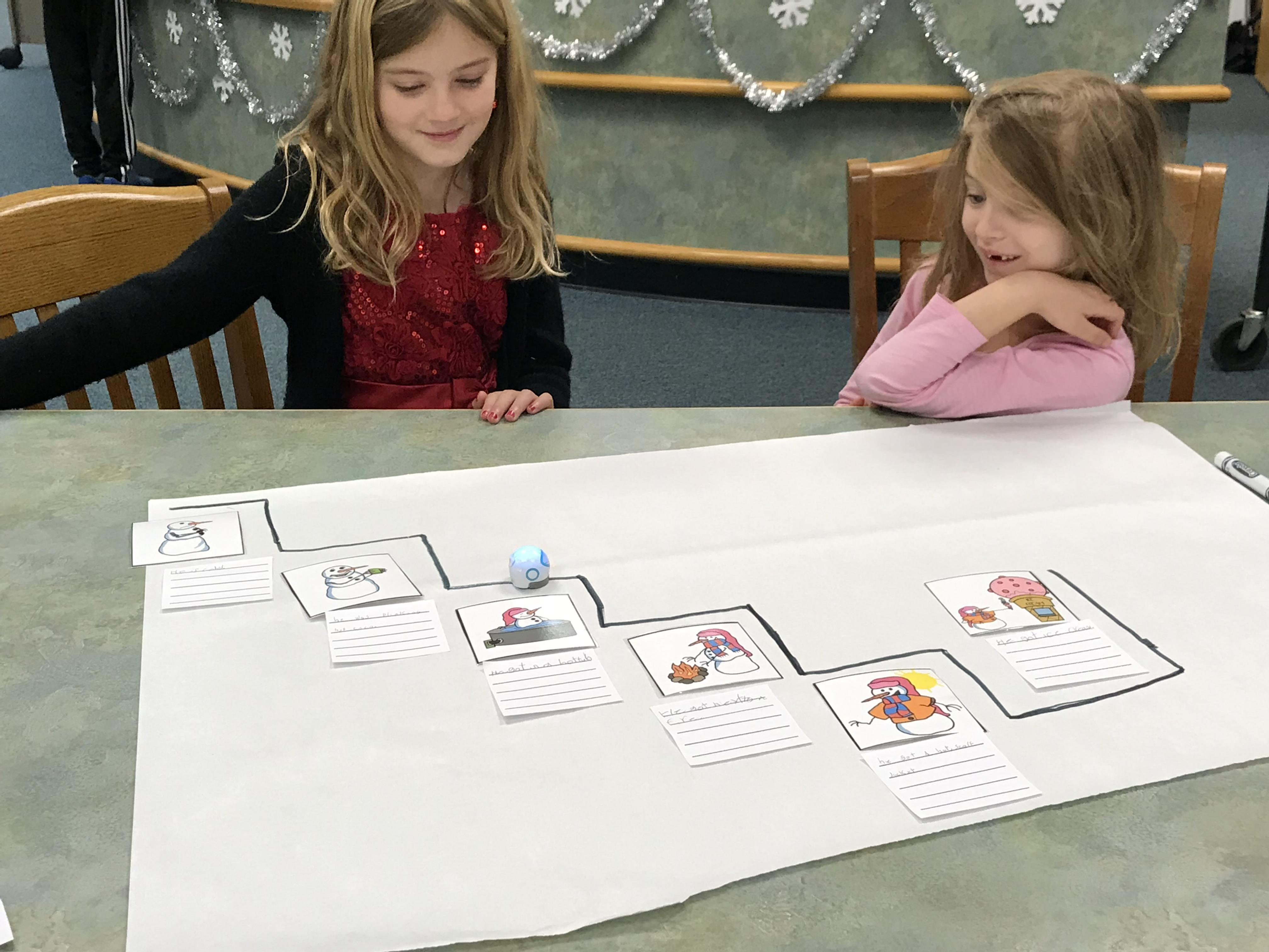 Lynnhaven Elementary School's Kaitlyn Sharlow and Kaylee Rickman use Ozobots to tell a story.