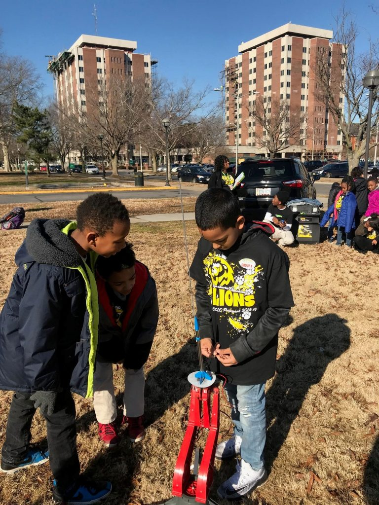 Lynnhaven Elementary third-, fourth- and fifth-grade students visited Norfolk State University for a day of STEM related activities. Kaiden Gray, Xzavion Matthews and Zacori Wright checked to make sure that the rocket that they have built is ready to launch.