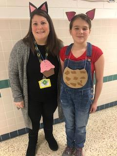 Fifth-grader Marley Fenley and Teacher Assistant Jaime Rankin are dressed up as characters from the books of Laura Numeroff at Malibu Elementary School.