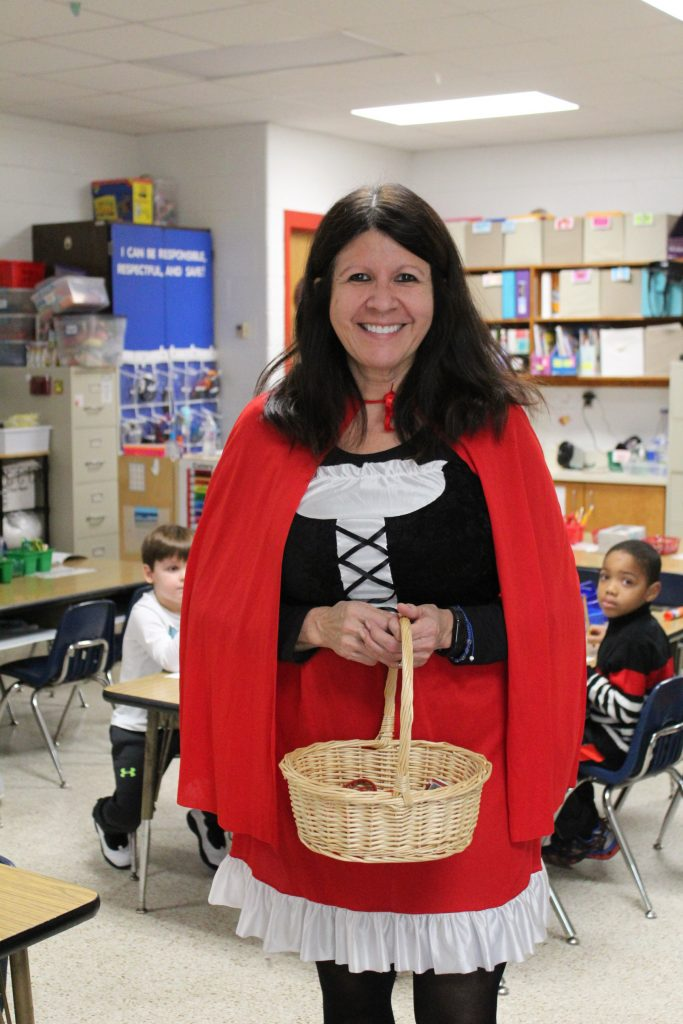 North Landing Elementary School special education teacher Marisa East dressed as her favorite book character for Reading Month.
