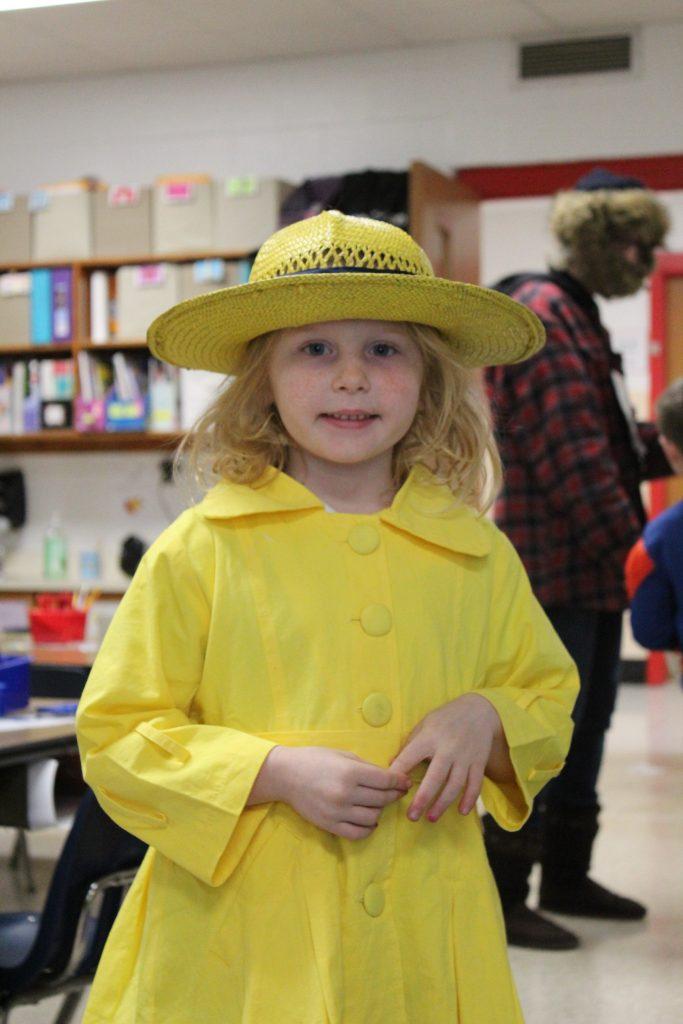 "North Landing Elementary School kindergartner Aubree Joyner, dressed up as her favorite book character, ""Madeline,"" for Reading Month."
