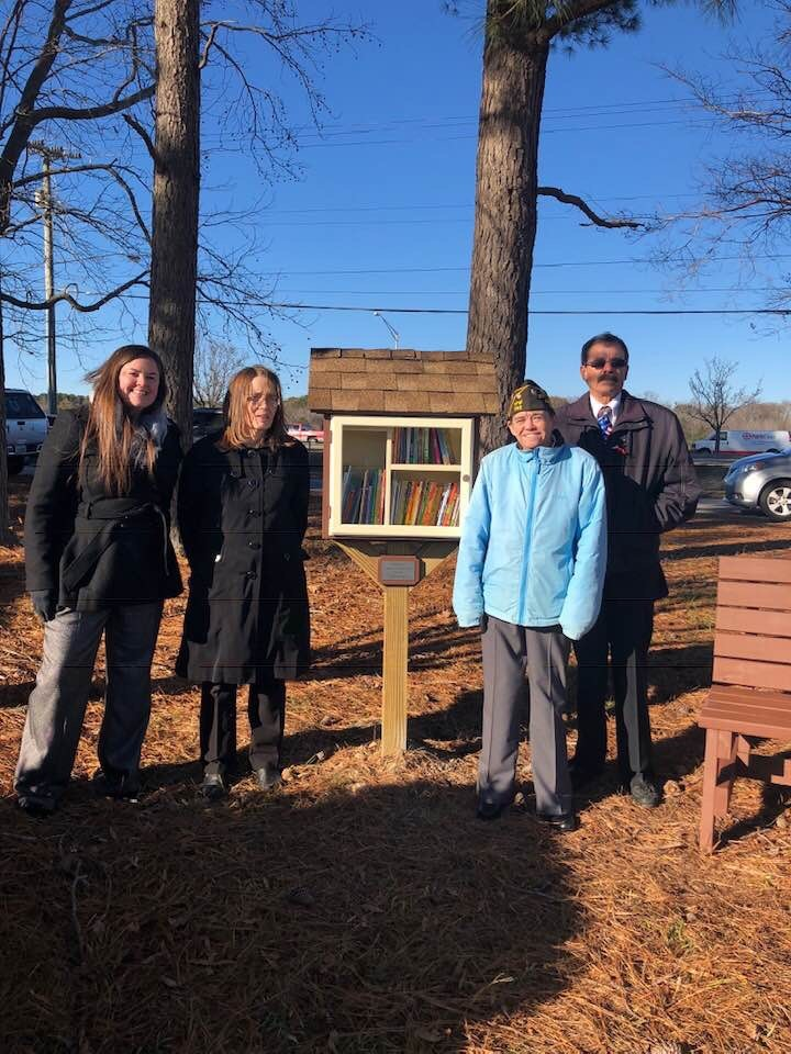 The Veterans of Foreign Wars Post 392 and its Auxiliary built a Little Free Library and bench for Ocean Lakes Elementary School.