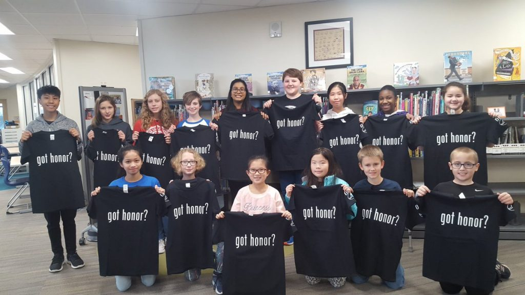 Students were selected for outstanding kindness and given a shirt to match the Staff Honor shirt.