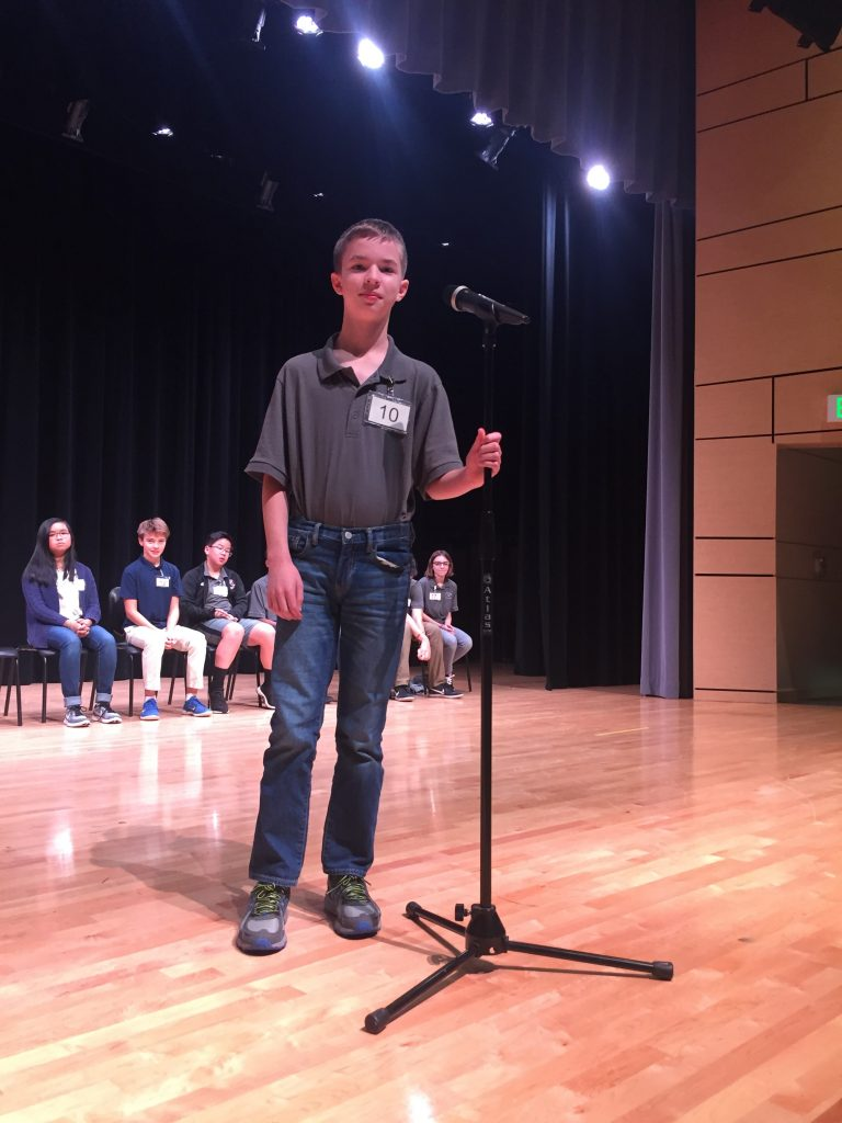 Seventh-grader Evan Skroch was the winner of Old Donation School's Spelling Bee.