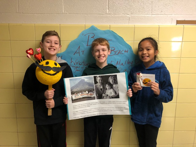 Princess Anne Elementary SCA officers Jackson Steele, Mitchell Byers and Arden Mariano celebrated their successful fundraiser for Operation Smile.
