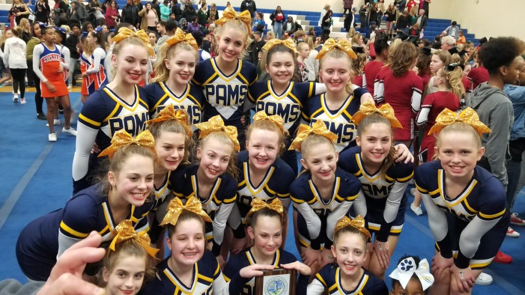 Princess Anne Middle cheerleaders celebrated their second place win at the District Cheer Competition.