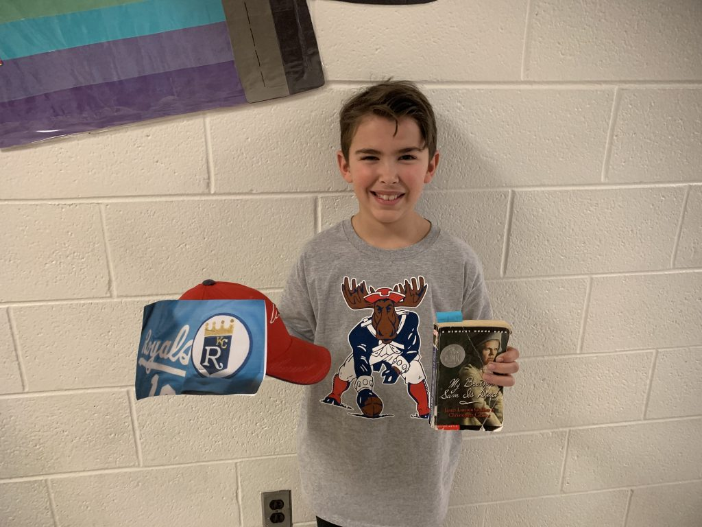 """Providence Elementary School fifth-grader Mitch Lyon showed off his creative thinking by dressing up as Timmy Meeker from the book """"My Brother Sam is Dead."""""""