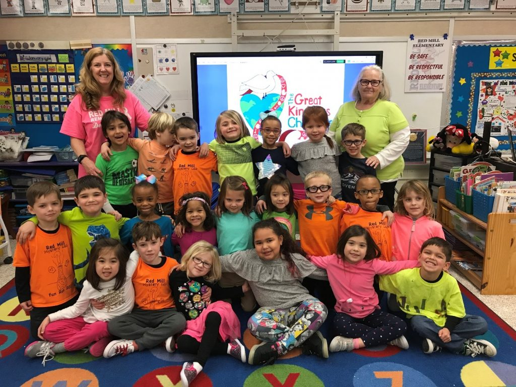 """In honor of Kindness Week, kindergartners from Red Mill Elementary School dressed in neon to """"brighten someone's day."""""""