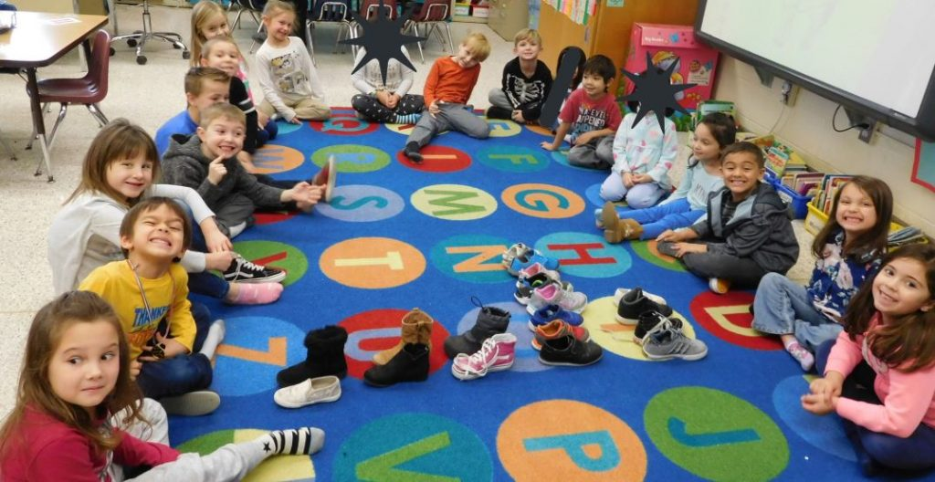 Kindergartners at Red Mill Elementary School used their shoes to learn about graphing.
