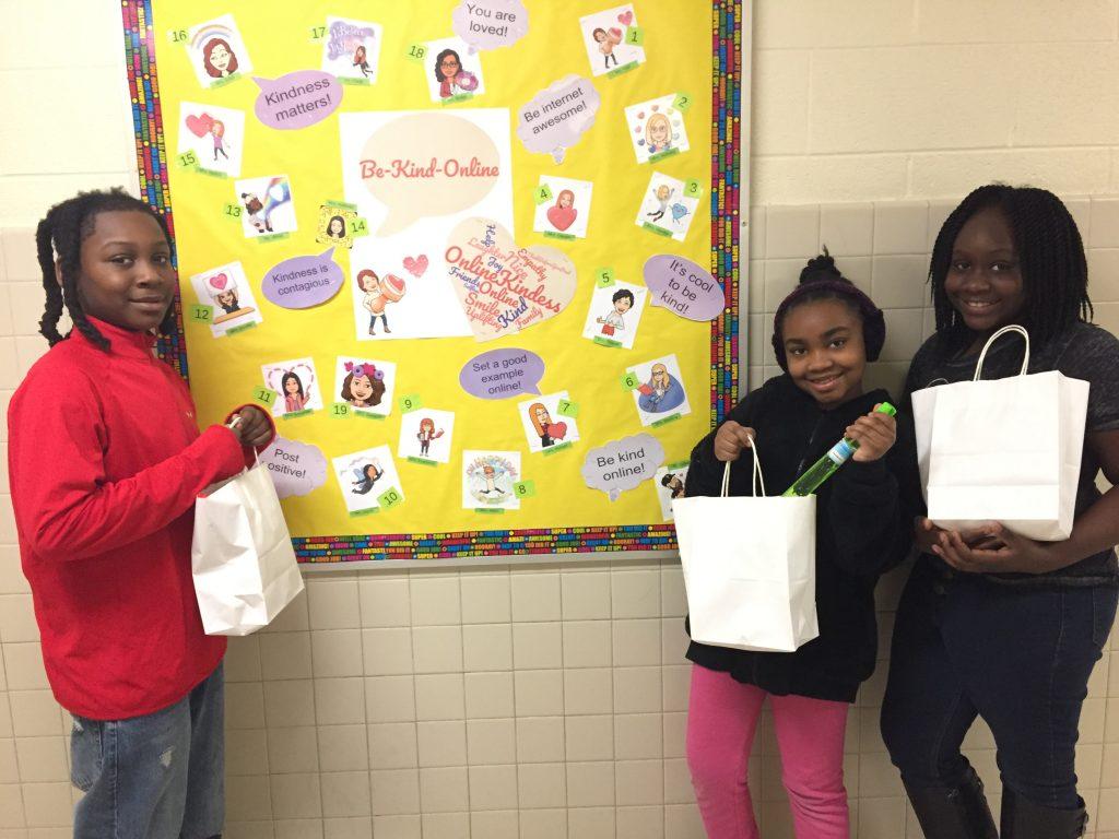 Rosemont Elementary fourth-graders Izion Peters, Malia Altidor, and Nariyah Watts won the Be-Kind-Online Bitmoji Contest.